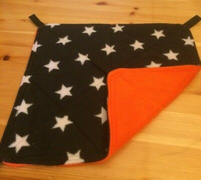 New Flat Fully Quilted Hammock For Rats+small Animals.STARS + ORANGE FLEECE