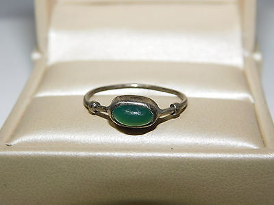 Sterling Silver handcrafted Emerald Green Onyx East West size 6.5 Ring 5g 45