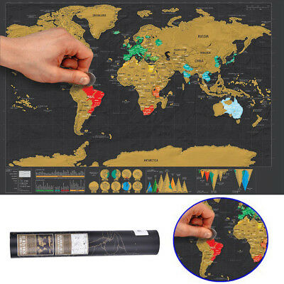 Personalized Travel Vacation Personal Gift Scratch Off World Map Poster Xmas New