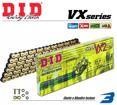 Catena Did Moto Motorcycle Chain Passo 520 Vx2 X Ring 120 Maglie G&b X-Ring