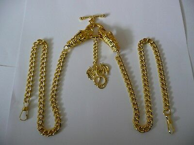 Golden dragon head double and single albert pocket watch chain gold fob t bar
