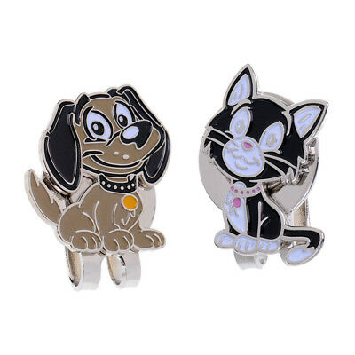 2pcs Cute Cat Dog Alloy Golf Hat Clip with Magnetic Ball Marker Golf Gift