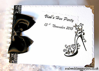Personalised Hen Night/Party Memory/Scrap book/ Gift black and sparkle New