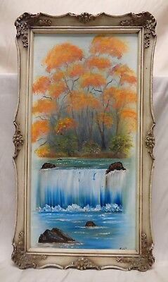 Signed Vintage Autumn Trees & Cascade Oil Painting in Antique Ornate Wood Frame