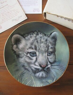 SNOW LEOPARD CUB Collector Plate By QUA Princeton Gallery Porcelain w/ COA & Box