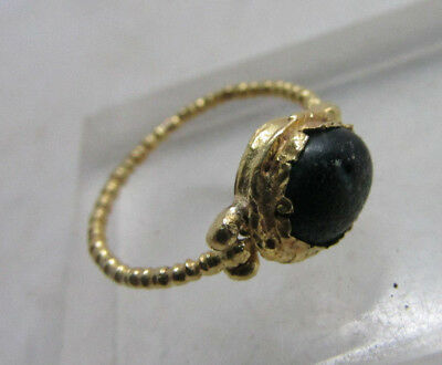 Lovely ancient Byzantine high CT gold ring with green stone