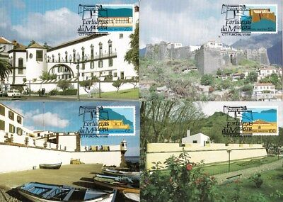 Portugal 1986 Castles - Fortalezas of Madeira Set of 4 Maximum Cards