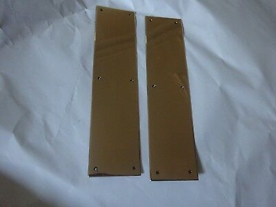 Pair  Antique Lovely Solid Bronze Door Push Plates
