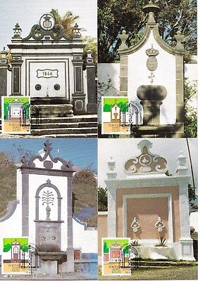 Portugal 1986 Architecture - Monuments of Acores Set of 4 Maximum Cards