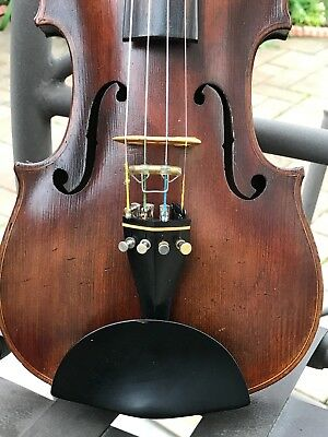Antique One Piece Back, Corners Blocked Healthy Schweitzer Violin, Bow And Case.