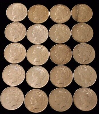 (20 pc) ROLL OF CIRCULATED MIXED DATE PEACE SILVER  DOLLARS $1 018