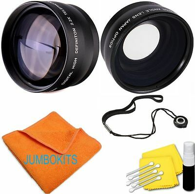 58MM 2x Telephoto +WIDE ANGLE + MACRO + CLEANING KIT FOR CANON EOS REBEL T4 T4I