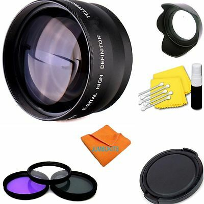 58Mm Telephoto Zoom Lens +Hd Filter Kit + Hood For Canon 750D T3 T4 T5 450D T6