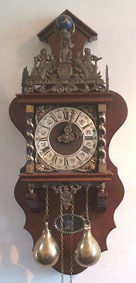 Impressive Dutch Zaandam Mahogany Case 2 Weights Driven Striking Wall Clock GWO