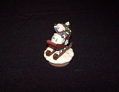 Vintage Home Interiors Snowman on Sled Small Candle Topper Winter Snow Christmas