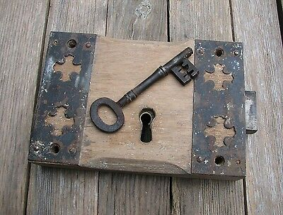 Old Large Church Oak and Iron Door Lock  - WITH KEY / Wood / Wooden Gothic