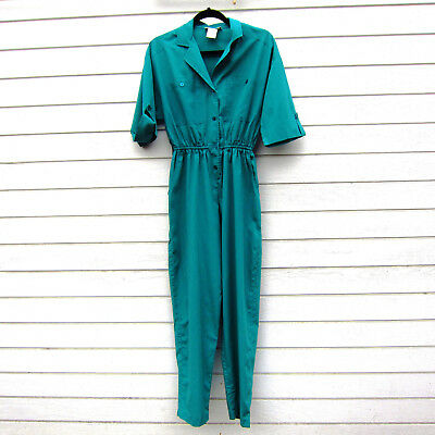 Vintage Fantasias Jumpsuit Romper Coverall Teal Blue-Green Sz XS/S 70s 80s
