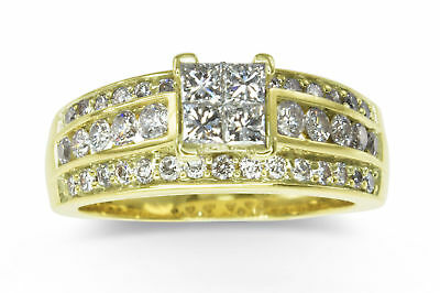 14k Yellow Gold 1.52ct Princess/Brilliant Diamond Bridal 3in1 Ring Band 10gm 592