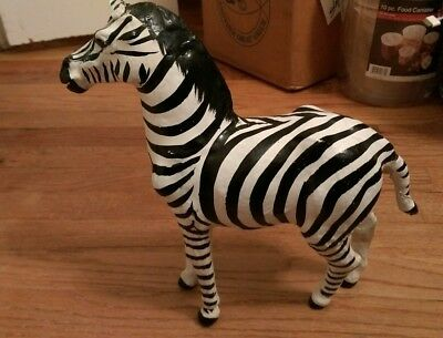 Vintage large Vinyl Type Material Zebra Figure Statue Zoo Animal Made In India