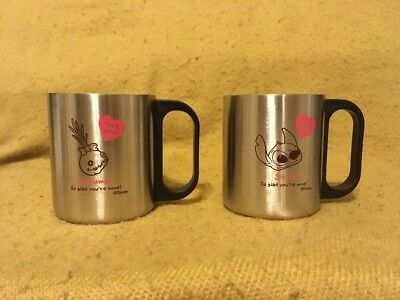 HTF Disney Stitch And Scrump Stainless Steel Love You! Pair Of Cups Mugs Japan