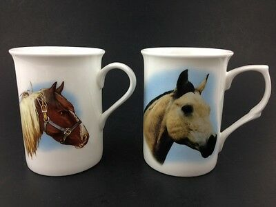 Made in England Lane Farm Staffordshire Fine Bone China Mug LOT X2 Horses Horse