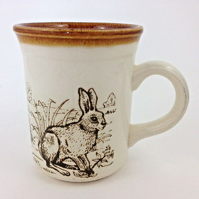 Vintage Stoneware Coffee Mug RABBITS Biltons Made in England Rabbit Hare Bunny