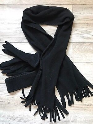 St John Bay Womans Scarf Gloves Headband Set Black