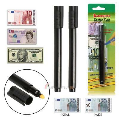 2X Bank Note Tester Pen Money Checking Detector Marker Fake Banknotes Office US
