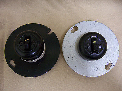 Lot of 2 Vintage Porcelain Round Toggle Light Switches surface Box mount NOS