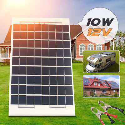 10W 12V Volt Flexible Solar Panel Battery Charger For RV Boat  Portable