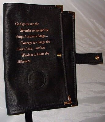 Genuine Leather AA Big Book BLACK Cover Alcoholics Anonymous Coin holder chip