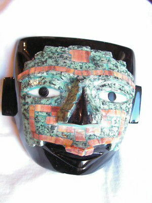 Mask Obsidian Stone  Inlaid  Of Blue Stone New.