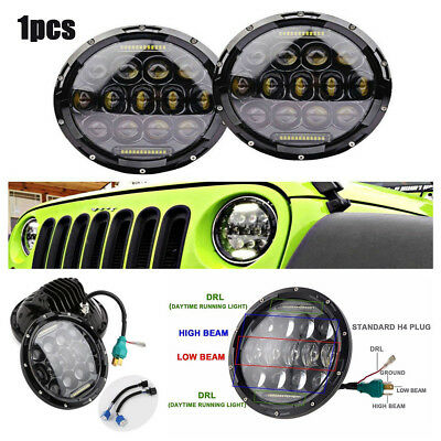 7'' 75W LED Round Headlight H4 DRL Hi/Lo Beams For Jeep Wrangler CJ JK TJ Harley