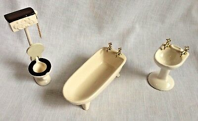 3 Vintage Dollhouse White Ceramic Bathroom Set High Toilet Sink Footed Tub