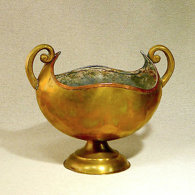 Antique Hammered Brass Copper Scroll Handle Urn Bowl Compote Russian or Swedish