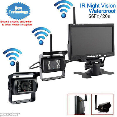 "Wireless 7"" Rear View Monitor Night Vision Backup Double Camera for Truck Bus RV"