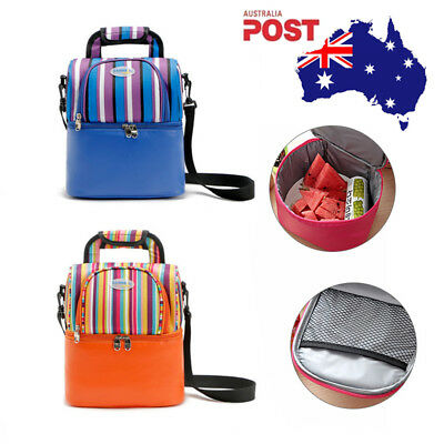 Dual Compartment Insulated Lunch Bag Cooler Lunch Box Tote School Picnic AU 9L