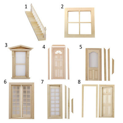 Miniature Unpainted Wooden Door Window Furniture DIY Decor for 1/12 Dolls House