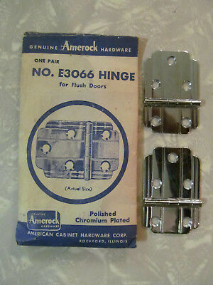 (2) Vintage Nos Amerock E3066 Flat Chrome Lined Hinges Flush Doors (No Screws)