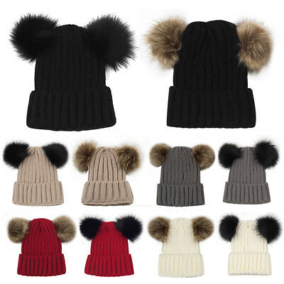 Uk Womens Ladies Winter Chunky Knitted Beanie Bobble Hat Twin Faux Fur Pompom