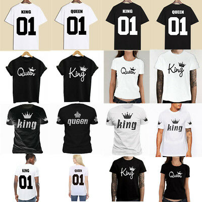 3439106304 Couple T-Shirt King & Queen Matching Set Sweet Family Love Clothes Tee Gift  Tops