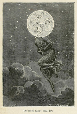 Reprint 15 Jules Verne Around the Moon 1870 illustration by EA Bayard 7x5 Inch