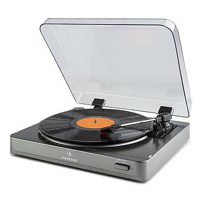 Plattenspieler Turntable Vinyl Player Bluetooth Line Out Riemenantrieb Silber