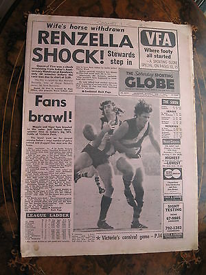 Sporting Globe    JUNE 17 1972 Collingwood FANS brawl