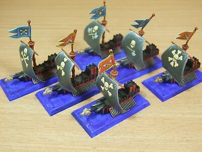6 Plastic Warhammer Man O War Galleys Painted (263)