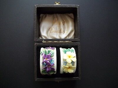Antique 1930's Set of Two Royal Doulton Floral Porcelian Napkin Rings, Boxed