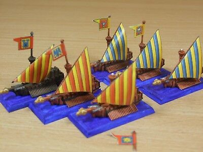6 Plastic Warhammer Man O War Galleys Painted (1522)