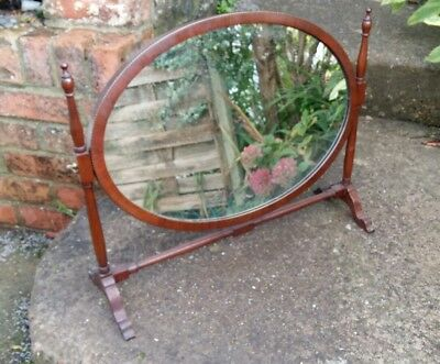 Antique edwardian wooden inlaid dressing table mirror, oval shape