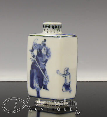 Unusual Antique Chinese Blue And White Four Sided Snuff Bottle