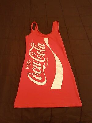 Juniors Red Coke Enjoy Coca-Cola Soda Pop Soft Drink Tunic Cotton Tank Dress Med